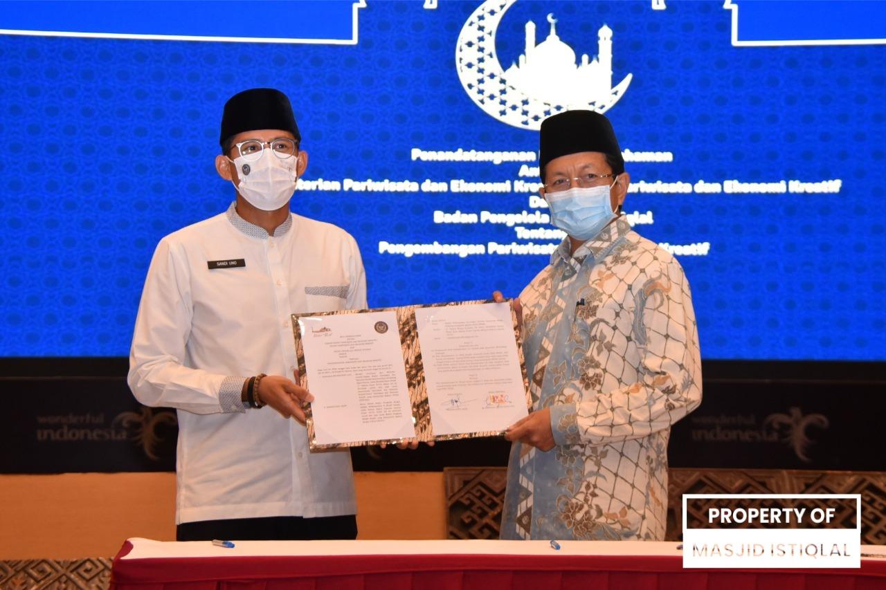 Imam Besar Masjid Istiqlal Tandatangani MOU dengan Kemenparekraf